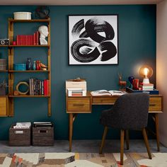 A cozy chill space perfect for work or play highlighted by an accent wall in Oceanside SW 6496. Via the @WestElm 2016 Spring-Summer collection. #decor #cozy #officedecor #oceanside by sherwinwilliams