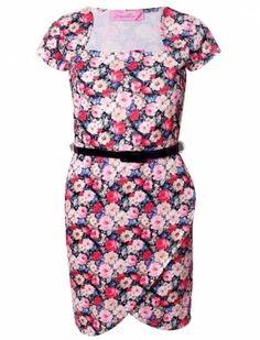 Stylesflow Womens Fashion Flower Print Belted Dress