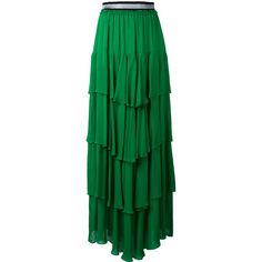 Just Cavalli ruffled maxi skirt ($1,107) ❤ liked on Polyvore featuring skirts, green, rayon skirt, just cavalli, long ruffle skirt, rayon maxi skirt and ruffle skirt