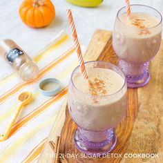 PUMPKIN SPICE SMOOTHIE ( 21 DSD, Paleo) This makes 1-2 servings (depending on whether it's your whole meal or just part or a snack)  1 cup full-fat coconut milk 1/2 cup water 1 green-tipped banana, frozen 1/4 cup canned pumpkin 1 teaspoon pure vanilla extract 1 teaspoon ground cinnamon 1 teaspoon pumpkin pie spice small handful of ice ...