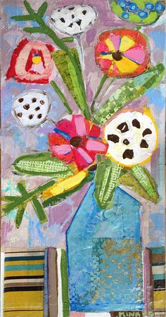 Paradise Flowers 48x24 mixed media