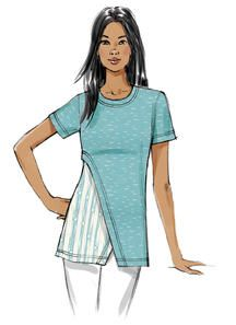 This new knit top/tunic pattern from Vogue Patterns gives you so many options for colorblocking and print/pattern mixing. Sew Misses' Contrast-Underlay Tops Vogue Patterns, Vintage Sewing Patterns, Clothing Patterns, Sewing Blouses, Top Pattern, Tunic Pattern, Pattern Mixing, Refashion, Clothes For Women
