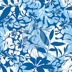 Blue Tropical seamless pattern.