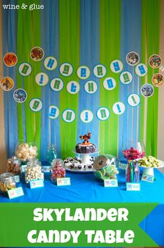 Skylander Party Candy Table (won't do candy table but like the color scheme)