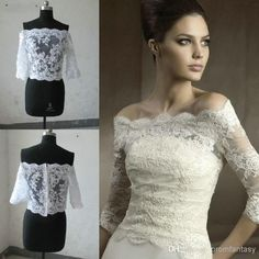 2014 Free Shipping Off-Shoulder Romantic Half Long Sleeve Real Image Sample Cheap White Ivory Lace Bolero Wedding Jackets Bridal Wraps