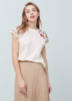 Embroidered cotton t-shirt   MANGO