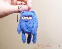 Displeased Kitty Tree Ornament  Needle Felt Cat Plushie by 5erg, $12.00