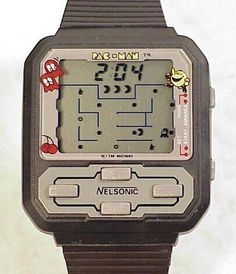 PacMan watch from the sooo remember having one and never forget we went on a family vacation and my dog chewed mine up :( Retro Toys, Vintage Toys, Retro Games, 1980s Toys, Vintage Games, Game Boy, Retro Watches, Watches For Men, Childhood Toys