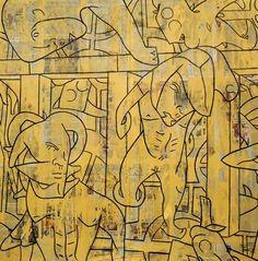 "Saatchi Online Artist Matthew Dibble; Painting, ""Donnybrook Near the Rabbit Hutch"" #art"