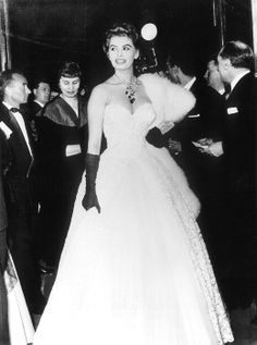 Actress Sophia Loren was stunning in this sweetheart neckline ball gown, looking like she was headed to a wedding.