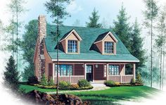 See the Rosewind Vacation Home that has 3 bedrooms, 2 full baths and 1 half bath from House Plans and More. See amenities for Plan Cape Cod Style House, Cottage Style House Plans, Cabin House Plans, Cabin Floor Plans, Country House Plans, Cottage Homes, Cottage Ideas, Country Homes, Cottage Living