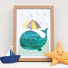 Whale With Umbrella Print