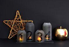 Sötét DIY adventi koszorú Winter Christmas, Xmas, Marie Claire, Candle Sconces, Candle Holders, Wall Lights, Candles, Modern, Design