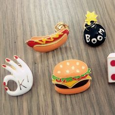 4c6e28010d3f2 2016 Shirt Collar Pin Brooch Fashion cute Hamburger pizza hot dogs Lapel  Pin brooch small mini button Brooch collar brooches-in Brooches from  Jewelry ...