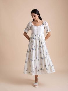 Buna is the finest sustainable fashion brand offering exquisite handmade women's dresses, made in high quality natural fabrics, using Indian crafts and ethical practices to inspire slow living. Western Dresses For Women, Frock For Women, Stylish Dresses For Girls, Casual Gowns, Casual Frocks, Girls Frock Design, Long Dress Design, Frock Fashion, Indian Fashion Dresses