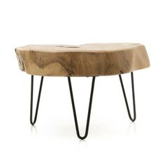 Hair Pin Cross Cut Acacia Coffee Table: Cross Cut Acacia Coffee Table