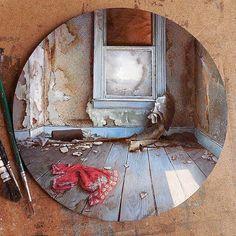 "9,398 Likes, 102 Comments - Dina Brodsky (@dinabrodsky) on Instagram: """"Gone"", oil painting on plexiglas, 2"" diameter"""