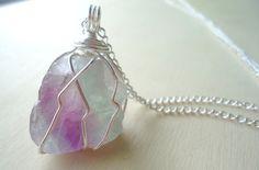 Fluorite Necklace  Rainbow Fluorite  by Crystals1LittleShop