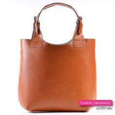 30956aa2b3a39 Torebka ze skóry naturalnej w pięknym i zawsze modnym odcieniu koloru  brązowego - klasyczny shopper