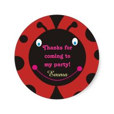 Shop Thanks for coming to my party! Ladybug Stickers created by goodmoments. Red Birthday Party, I Party, Thanks For Coming, Different Shapes, Custom Stickers, Ladybug, Activities For Kids, Diy Projects, Scrapbook