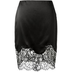 Givenchy Black Lace Embellished Silk Skirt ($1,055) ❤ liked on Polyvore featuring skirts, silk skirt, givenchy, givenchy skirt, lace skirt and embellished skirts