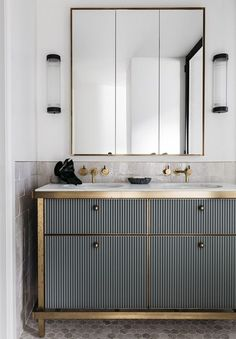 Weekend Eye Candy See all our stylish art deco bathrooms design ideas. Art Deco inspired black and white design. Art Deco Bathroom, Bathroom Storage, Modern Bathroom, Small Bathroom, Bathroom Ideas, Bathroom Cabinets, Bathroom Vanities, Bathroom Remodeling, Gold Bathroom