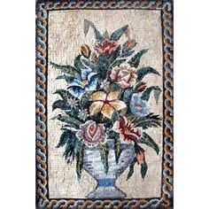 """28x44"""" Marble Mosaic Flower Stone Tile Wall Art. Mosaics have endless uses and infinite possibilities! They can be used indoors or outdoors, be part of your kitchen, decorate your bathroom and the bottom of your pools, cover walls and ceilings, or serve as frames for mirrors and paintings."""