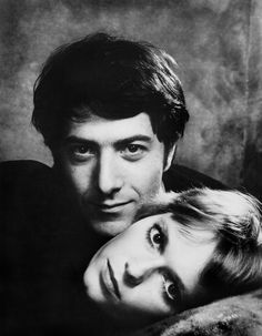 """Philippe Halsman :  Mia FARROW and Dustin HOFFMAN during the filming of """"John and Mary"""" directed by Peter YATES. 1969."""