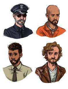 Dallas Les Mis sketches by threadbaremillionaire: javert, jean valjean, marius, enjolras in order