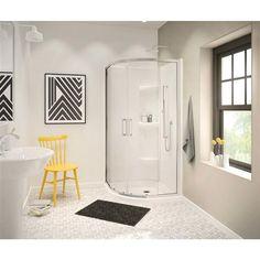 Corner Shower Base, Corner Shower Doors, Baño Home Depot, Acrylic Shower Base, Frameless Sliding Shower Doors, Modern Bathroom Decor, Small Bathroom, Master Bathroom, Bathroom Ideas