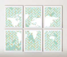 World Map on Chevron In Light Blue & Orange in by ThirdFloorDesign.. thinking for the wall by my kitchen table