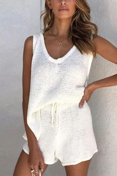 V Neck Sleeveless Tank Shorts Set – Chiclotte Spring Outfits, Trendy Outfits, Cute Outfits, Fashion Outfits, Womens Fashion, Lazy Outfits, Outfit Summer, School Outfits, Looks Style