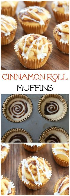 Cinnamon Roll Muffins. These adorable brunch muffins have swirls of ...