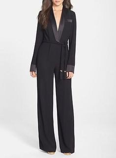 "RACHEL ZOE ""HARDY"" TUX JUMPSUIT BLACK 