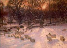 Shepherd and sheep in snow- Joseph Farquharson