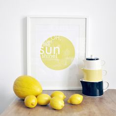"""Gelbes Bild mit fröhlichem Spruch für Deine Deko / """"Oh let the sun shine"""" poster for your home decor made by nahili via DaWanda.com"""