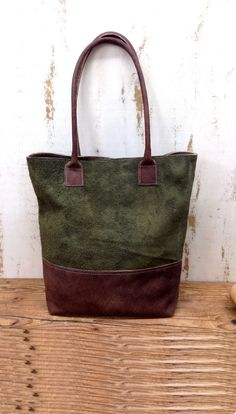 Green leather Tote bag leather bag Suede Leather shopper bag Distressed leather…