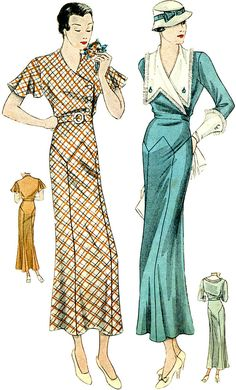 #T1481 - 1930s Ladies Day Dress With Large Collar Sewing Pattern - Hollywood   Collectibles, Sewing (1930-Now), Patterns   eBay!