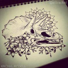dinosaur skull tattoo - Google Search