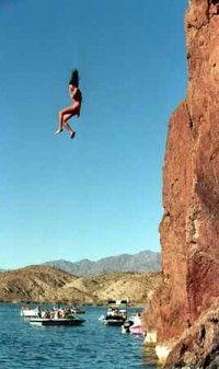Cliff Jumping  _ lake Havasu. We are so doing this this year!!!! @jami  and @Tressa
