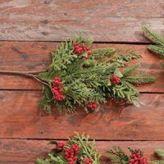 raz mixed berry and cedar christmas spray - Peppermint Forest Christmas Shop