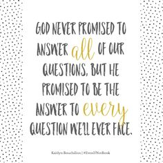 God is the answer we've been looking for.