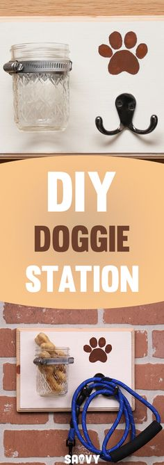 I just love when everything has a spot in my house, and the entryway can sometimes get a little hectic. Between our kids and the dog, it's so nice when you walk in the front door and everything is in its place. This DIY Doggie Station is so easy to assemble, and creates the perfect catch-all for Fido's leash and plastic bags or treats - or just about anything else you can hang or store in a jar! Personalize it with whatever decorations or colors you like to make it yours!