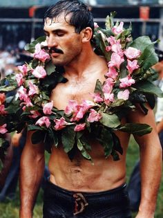 inspired look of the day: turkish wrestler wearing floral wreath