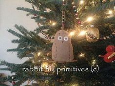 Vintage Wool Snow Owl Ornament #315 ~ rabbit hill primitives (c)