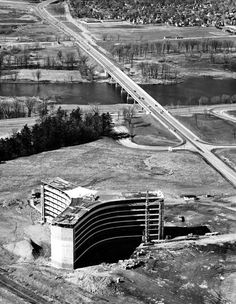 Photos - COA (poss) Aerial of CBC HQ under constuction and Dunbar bridge, April 1963 - CA House Of Commons, History Of Photography, April 21, Largest Countries, Photo Archive, Ottawa, Historical Photos, Old Photos, Bobs