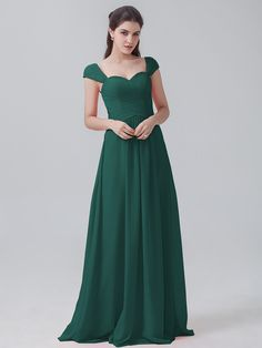 Pleated Chiffon Hunter Green Dress with Cap Sleeves YESU201604. Siegfried ·  Kleider · Edel! f329de7b7a