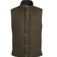 Magee Byron Gilet £114.95 Mens Byron Gilet 100% Wool, comes in Green with a Navy & Pale Blue Over check. Zip and Button Closing, studded buttons with the magee logo printed on.