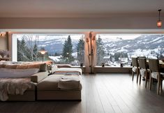 clean contemporary ski lodge - what a view!