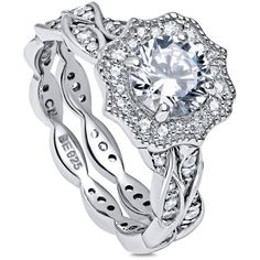 BERRICLE Sterling Silver CZ Art Deco Milgrain Stackable Ring Set ($104) ❤ liked on Polyvore featuring jewelry, rings, 2 piece ring set, clear, women's accessories, sterling silver cubic zirconia rings, wedding rings, sterling silver band rings, sterling silver twist ring and cz engagement rings